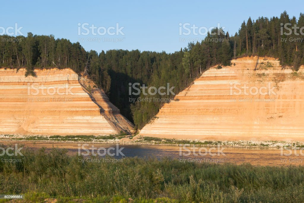 Opoki tract is a natural monument on the Sukhona River in the Vologda Region stock photo