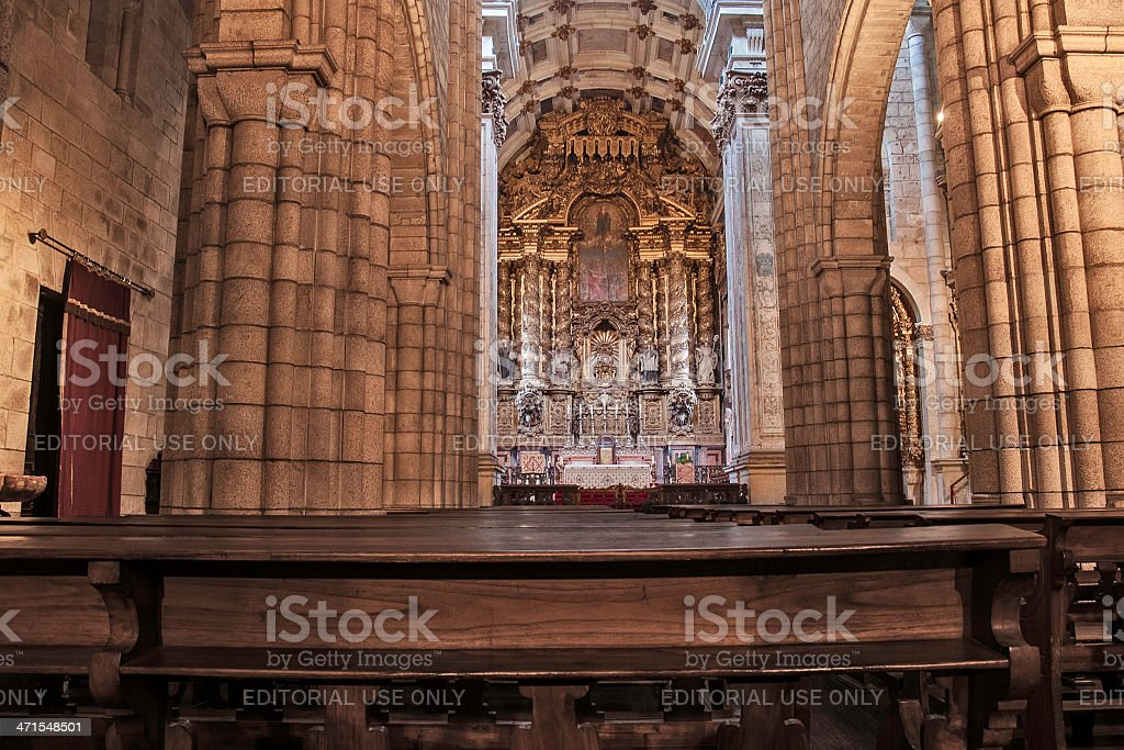 Oporto cathedral altar royalty-free stock photo