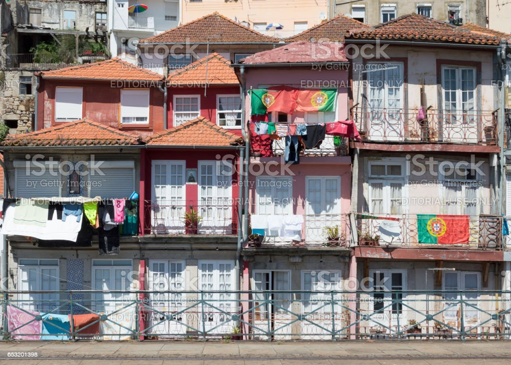 Oporto houses with hanging clothes stock photo