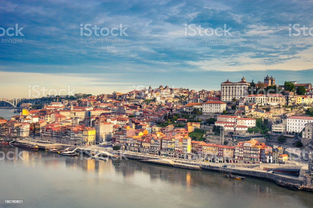 Oporto Ribeira aerial view stock photo