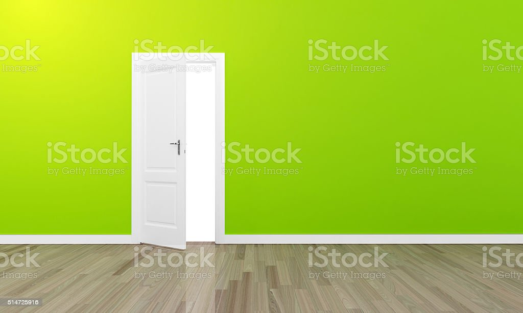 Oppen door large green wall and wooden floor stock photo