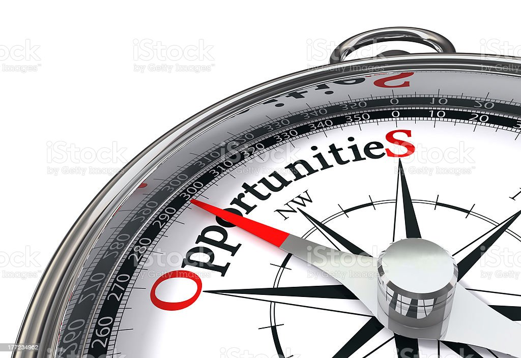 opportunities concpept compass stock photo