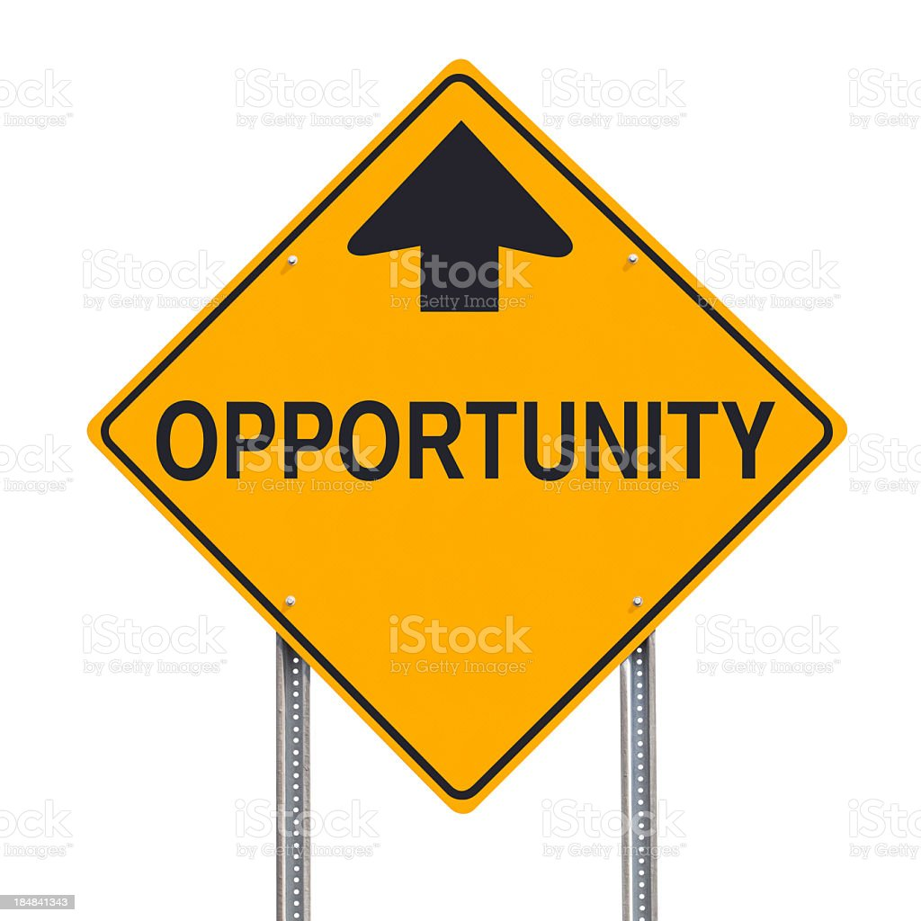 Opportunity Ahead Road Sign Post Isolated Clipping Path stock photo