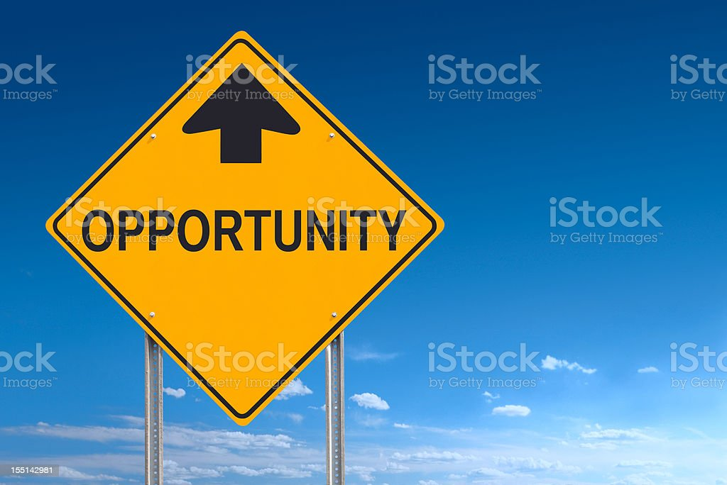 Opportunity Ahead Road Sign Post Over Blue Sky stock photo