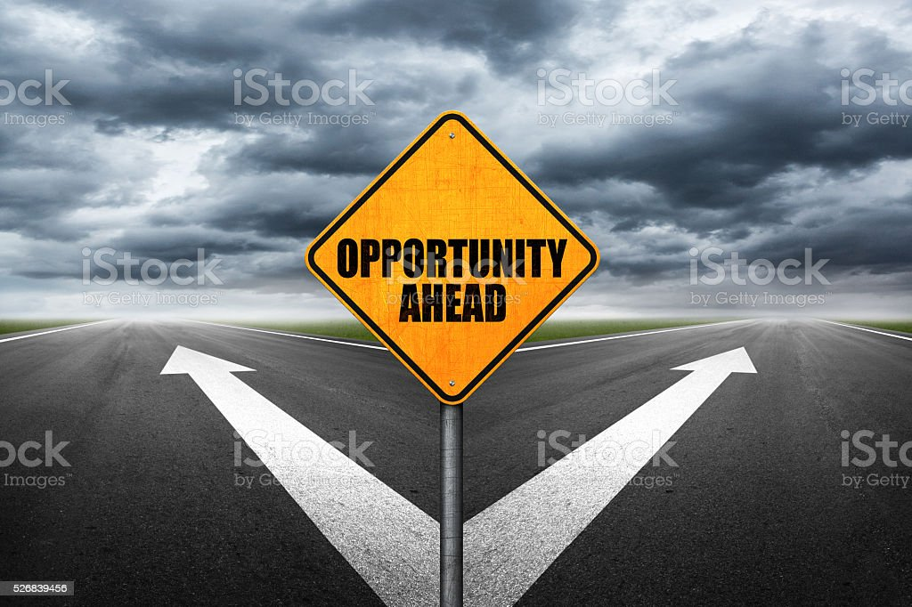 Opportunity Ahead sign on highway stock photo