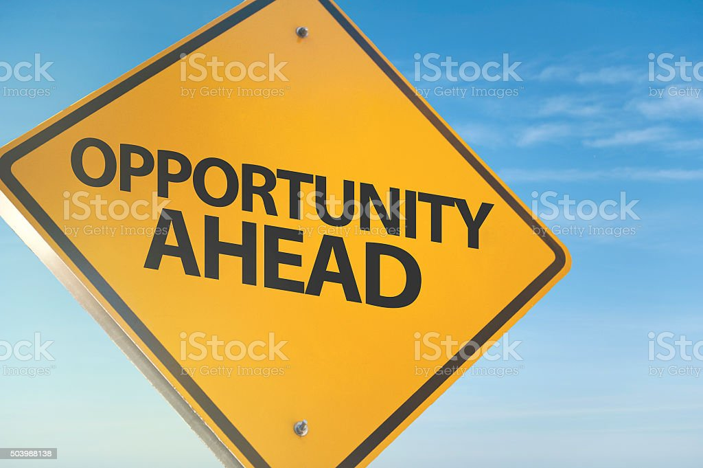 Opportunity Ahead / Warning sign concept (Click for mroe) stock photo