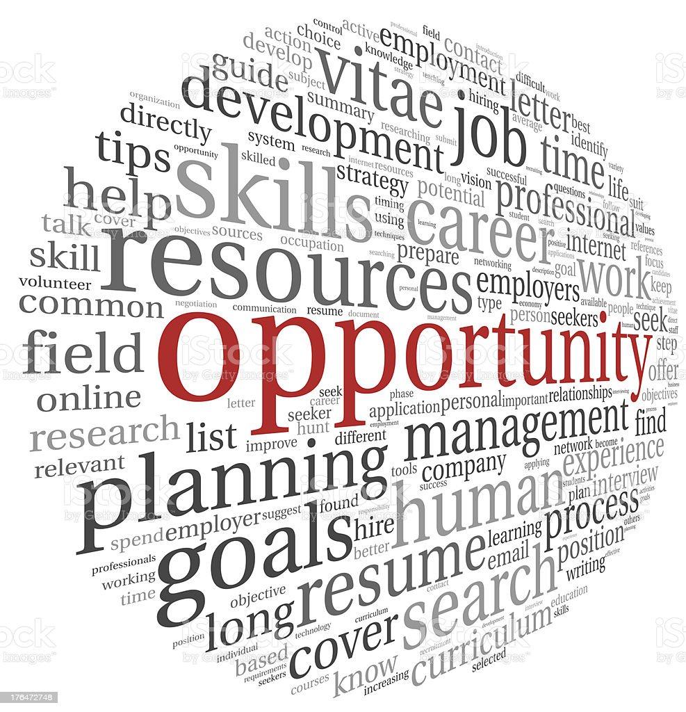 Opportunity concept in word cloud stock photo