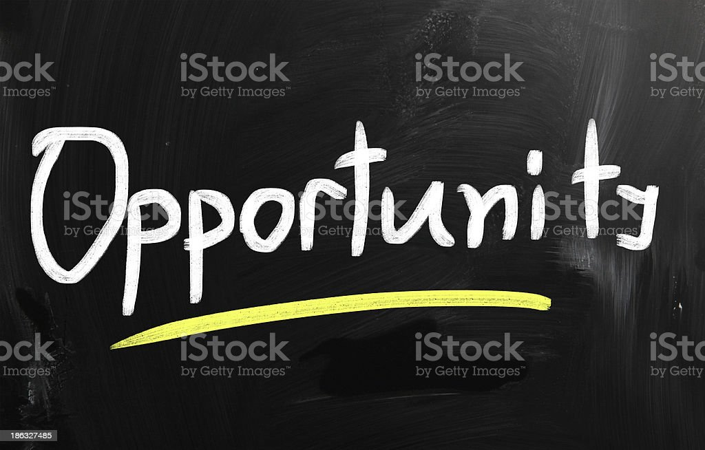 'opportunity' handwritten with white chalk on a blackboard royalty-free stock photo