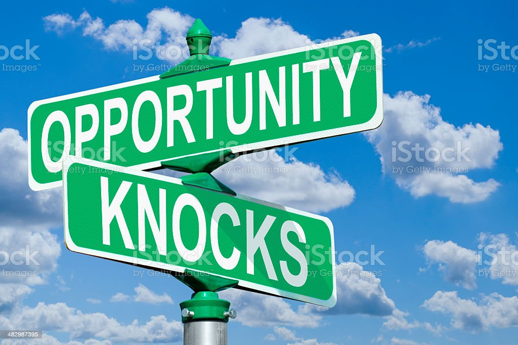 Opportunity Knocks Street Sign stock photo