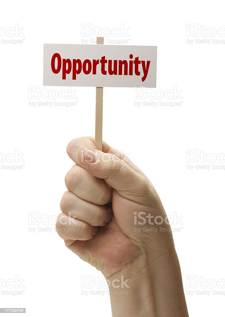 Opportunity Sign In Fist On White royalty-free stock photo