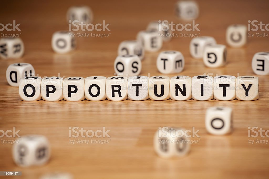 Opportunity Spelled In Letter Cubes royalty-free stock photo