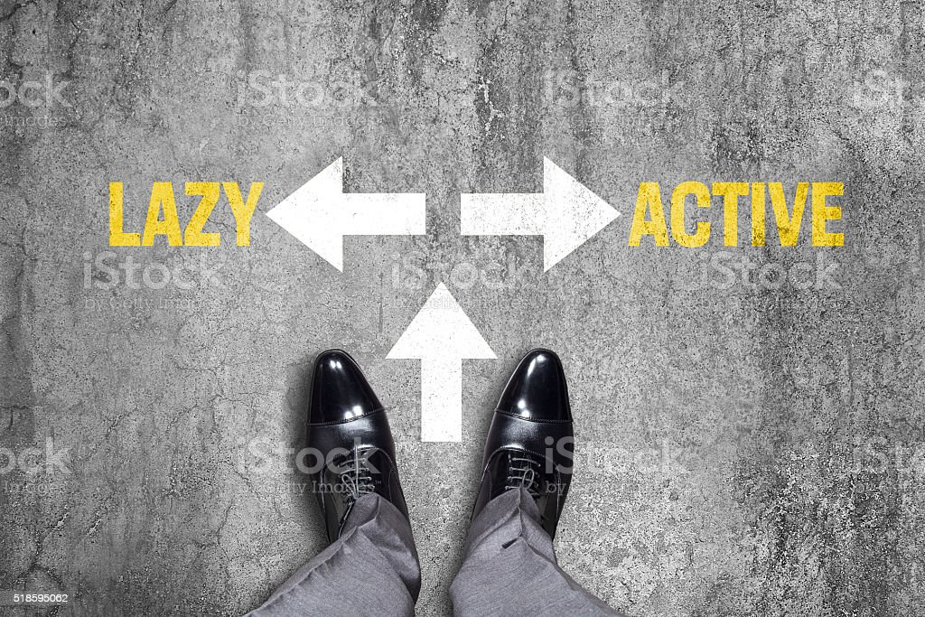 Opposite arrow with lazy and active text stock photo