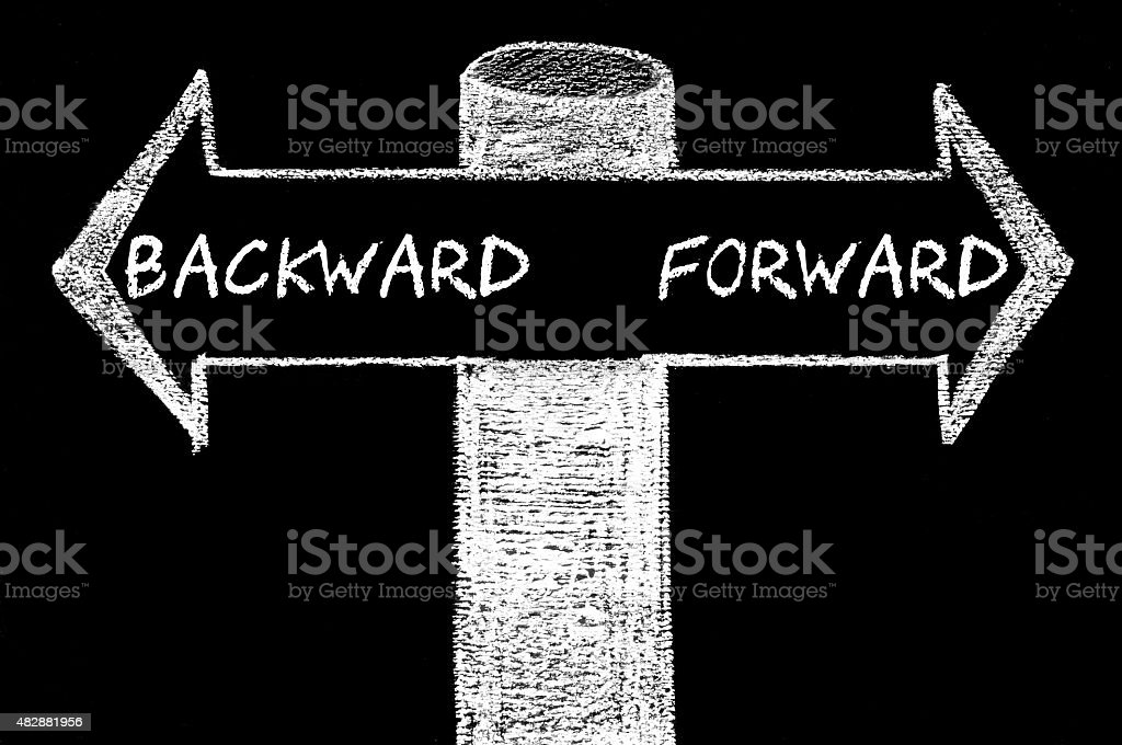 Opposite arrows with Backward versus Forward stock photo