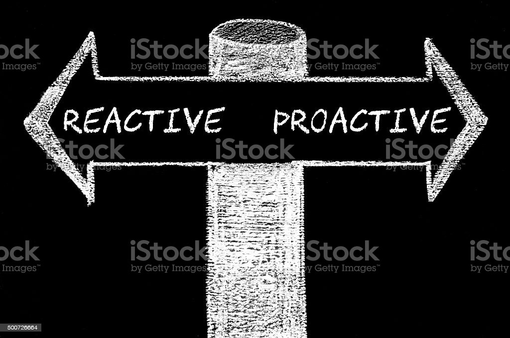 Opposite arrows with Reactive versus Proactive stock photo