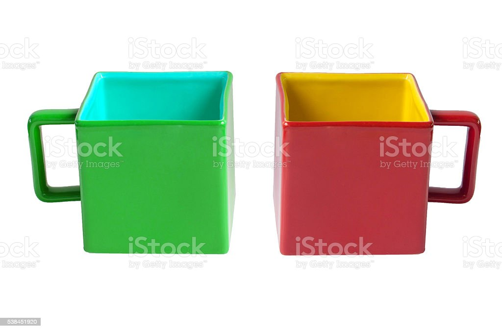 Opposite color Mug Christmas couple square red and green cup stock photo