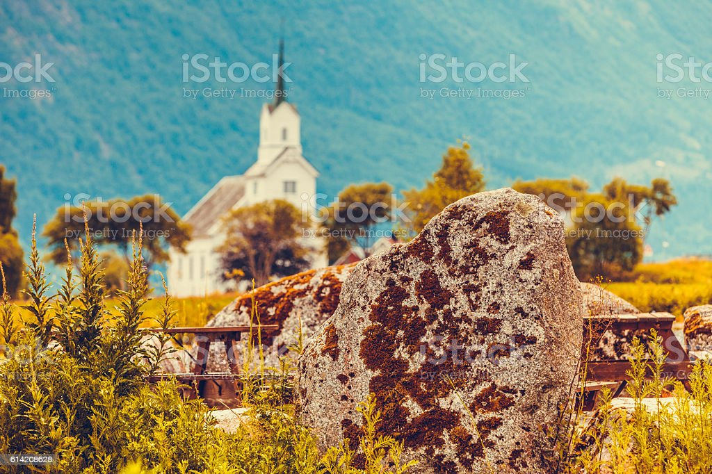 Oppstryn Church in Norway stock photo