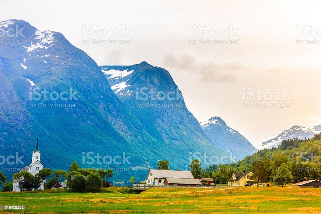 Oppstryn Church in Norway stock photo