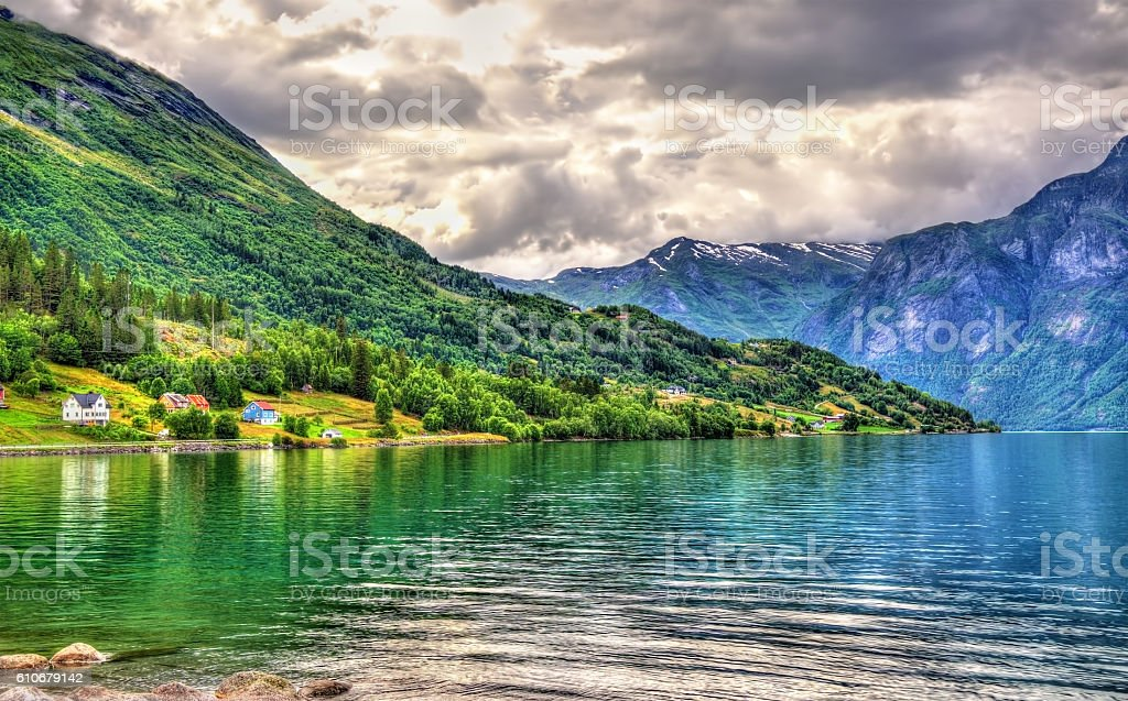 Oppstrynsvatn lake at Oppstryn village, Norway stock photo