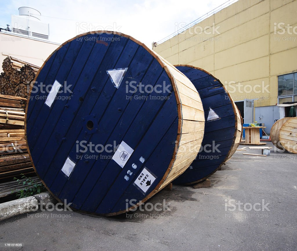 Optic cable drums stock photo