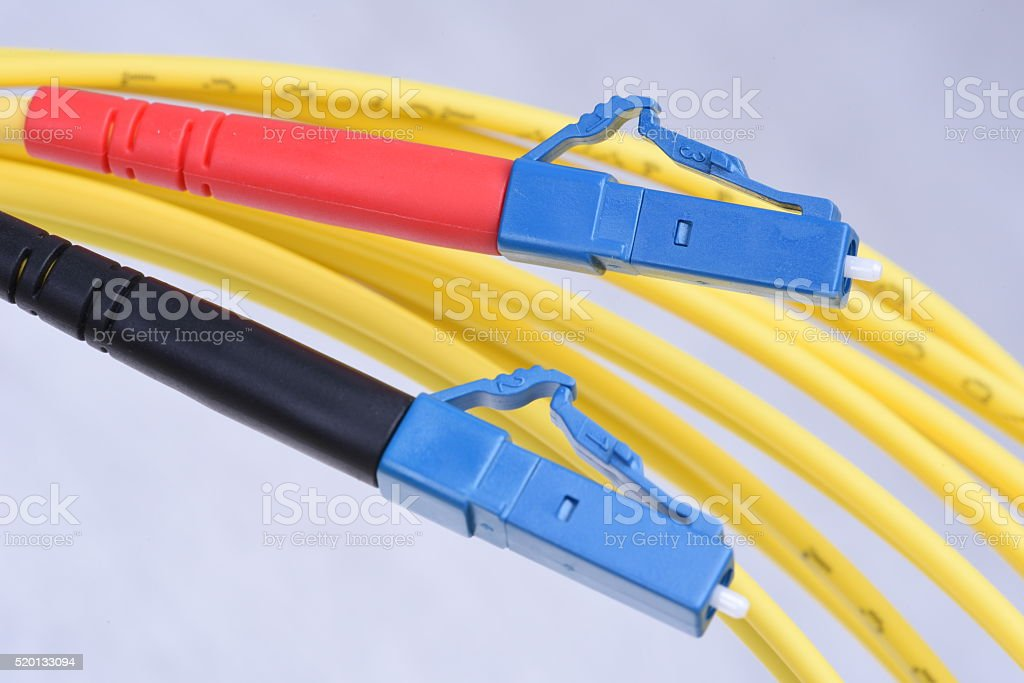 Optic single mode type LC patch cord stock photo