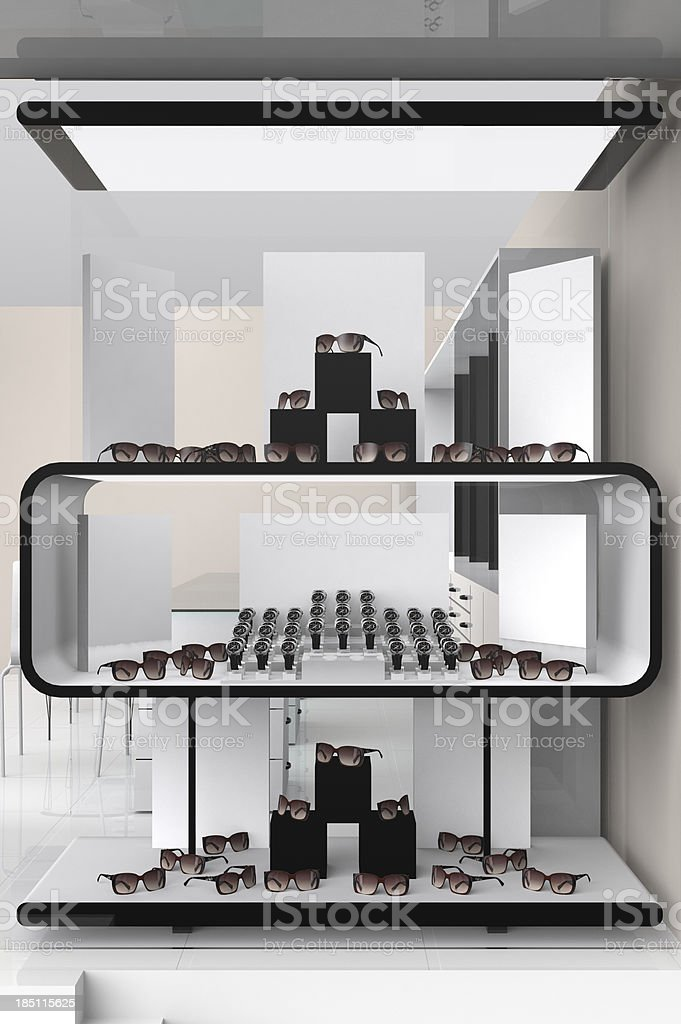 Optical and watch store showcase stock photo