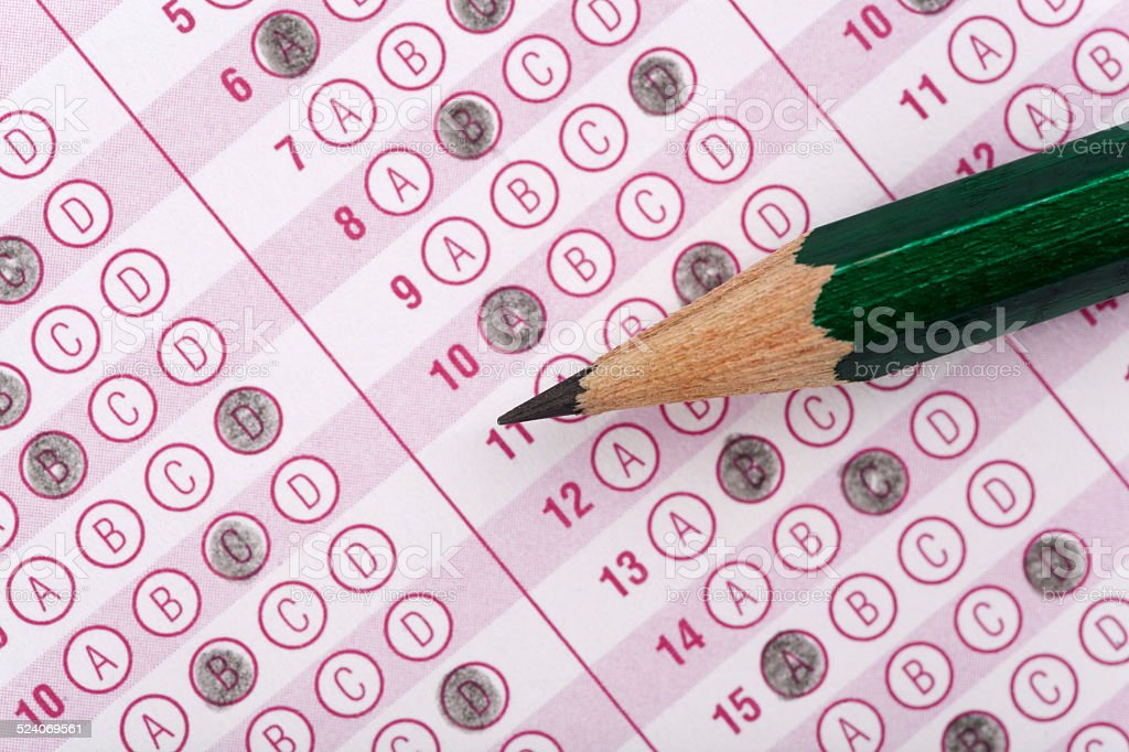 optical form of an examination with pencil stock photo