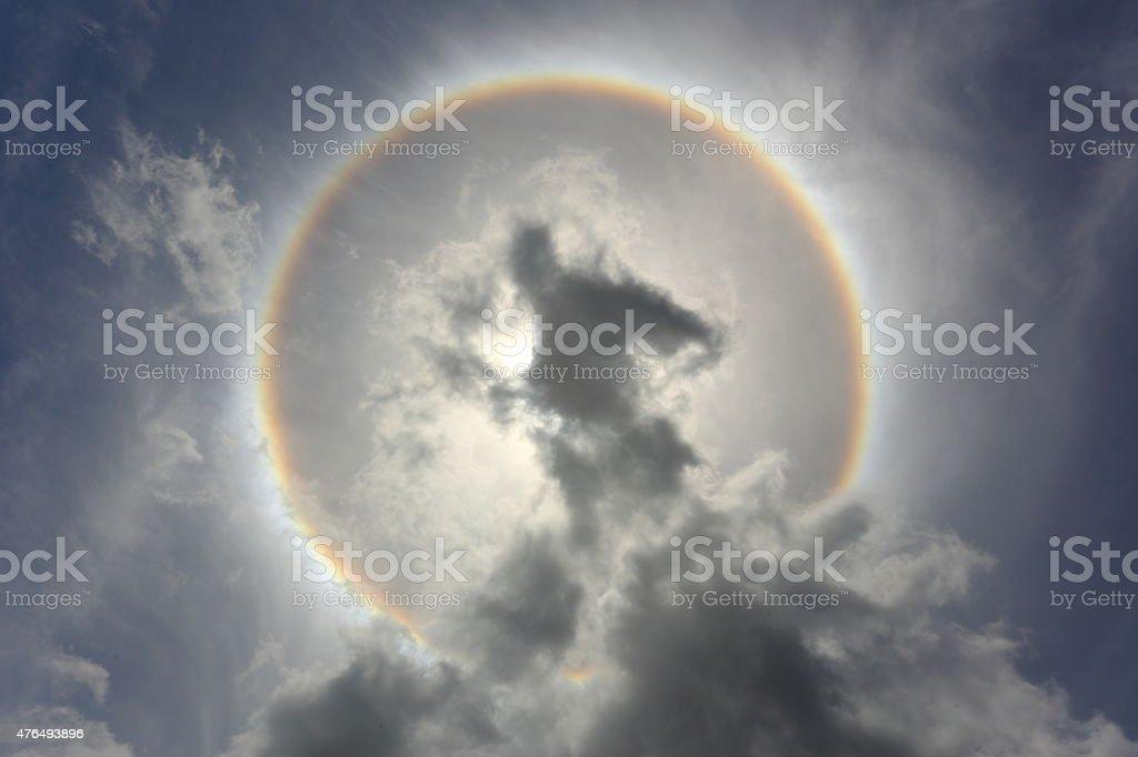 Optical phenomenon sun halo stock photo