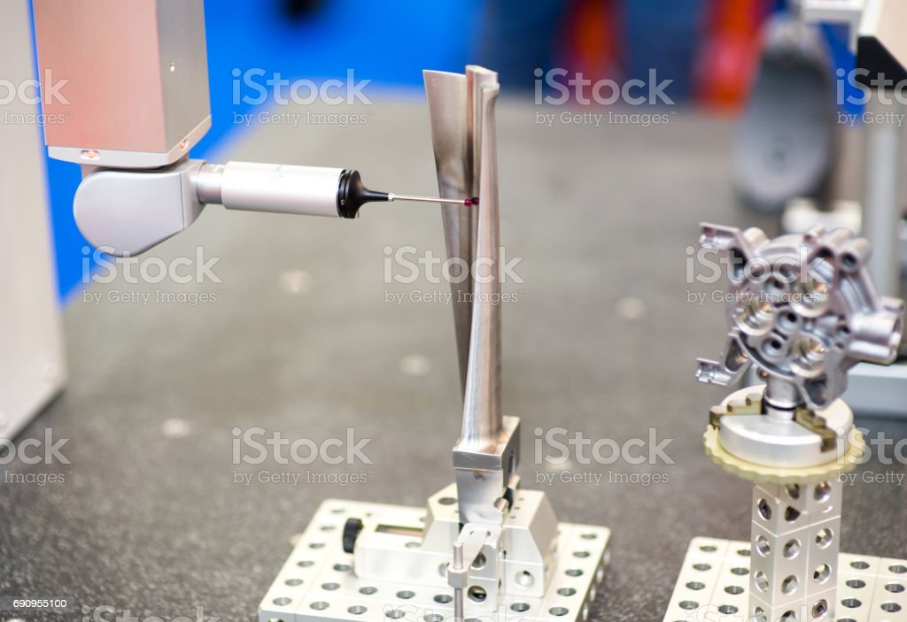 Optical transmission probe for workpiece inspection and job set-up on all sizes of machining centres and small to medium multi-tasking machines. stock photo