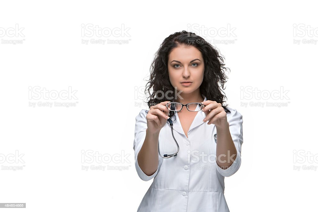 Optician or oculist woman stock photo