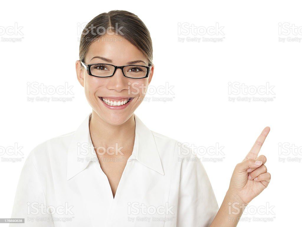 Optician woman pointing and showing royalty-free stock photo