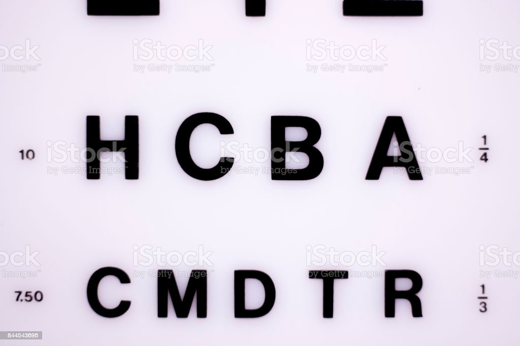 Opticians ophthalmology and optometry eye test chart to test sight and vision for patients with eyesight issues. stock photo