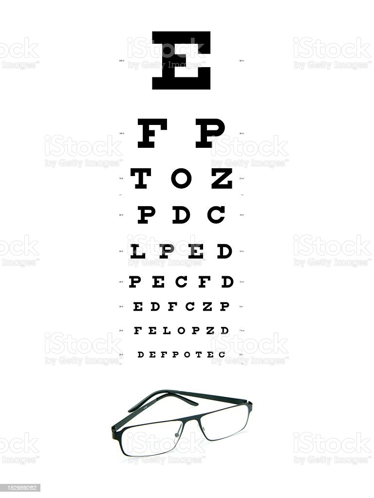 Opticians Test Chart with a pair of glasses beneath it  stock photo