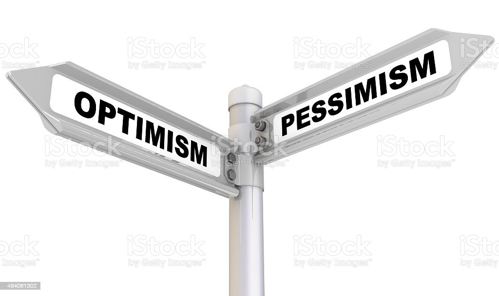 Optimism and pessimism. Road sign stock photo