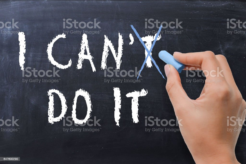 Optimism and positivism concept, changing I can't do it in I can do it