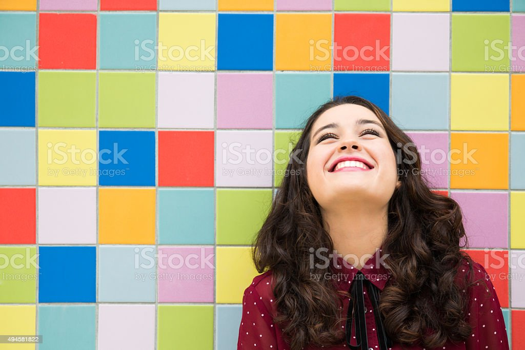 Optimistic and cheerful girl stock photo