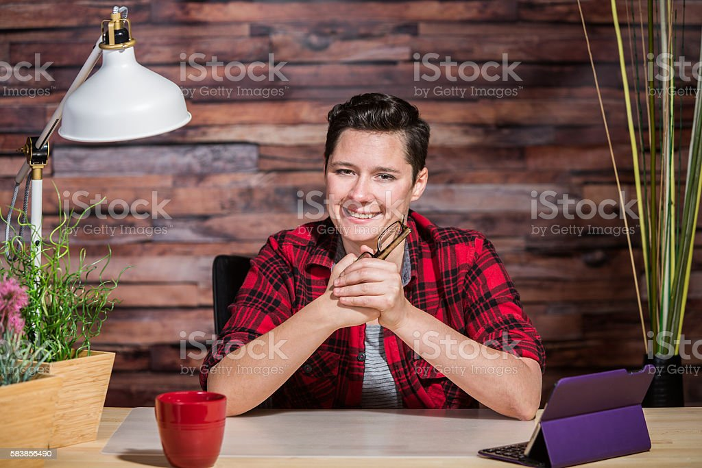 Optimistic Casual Office Worker stock photo