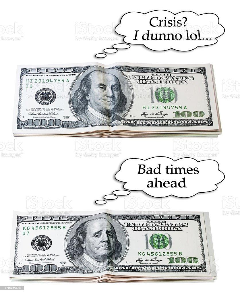 optimistic or pessimistic dollar set stock photo