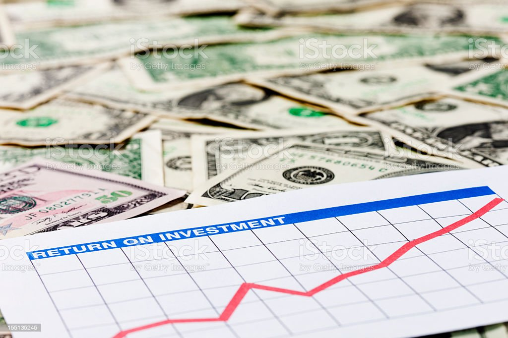 Optimistic, rising return-on-investment graph on US dollars royalty-free stock photo