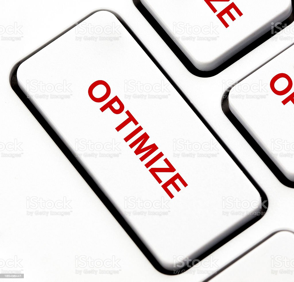 Optimize button on keyboard royalty-free stock photo