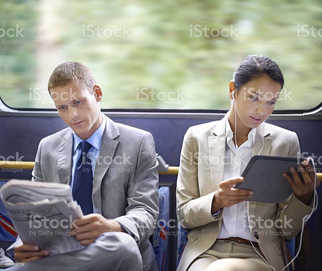 Optimizing their travel time wisely stock photo