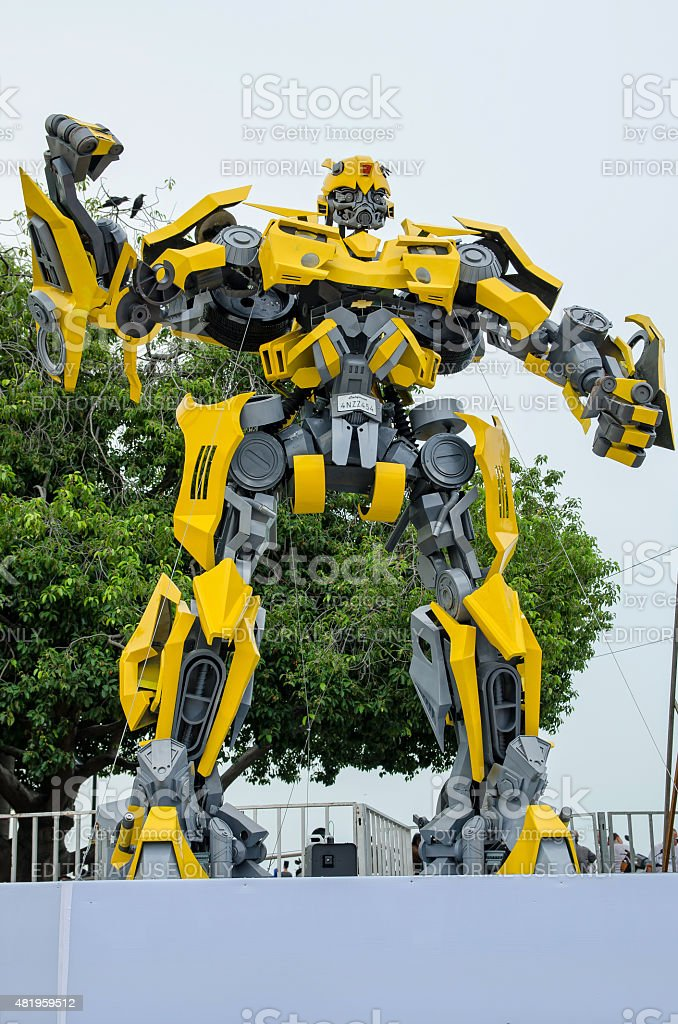 Optimus Prime and Bumblebee Transformers exhibition at Esplanade Penang, Malaysia. stock photo