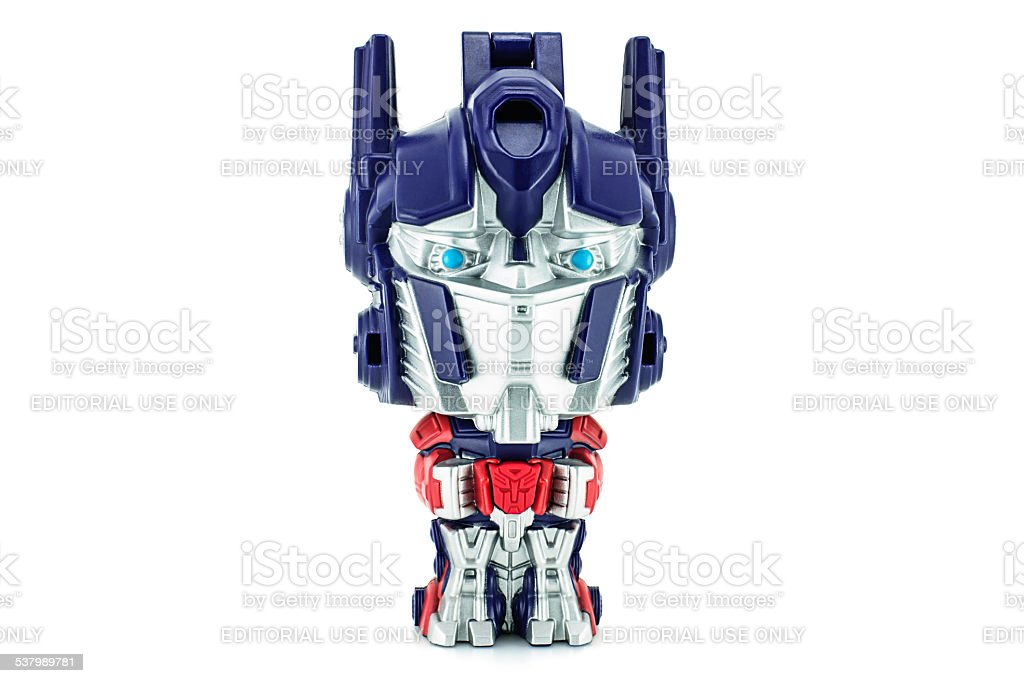 Optimus Prime toy  character from TRANSFORMERS Movie series. stock photo