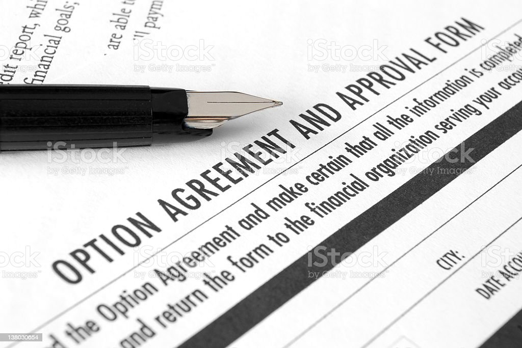 Option agreement and approval form stock photo