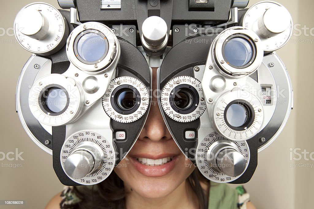 optometrist diopter with female smiling and fisheye lens stock photo