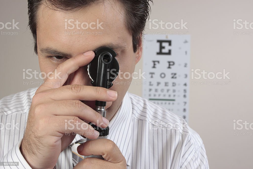 Optometrist or ophthalmic surgeon stock photo