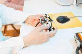 Optometrists eye test equipment   Eyeglasses and eye chart    Ophthalmology