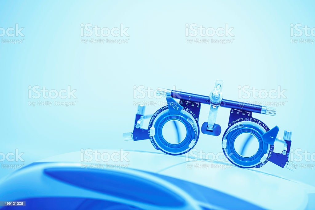 Optometrists eye test equipment   Ophthalmic clinic   At the optician   Ophthalmology stock photo