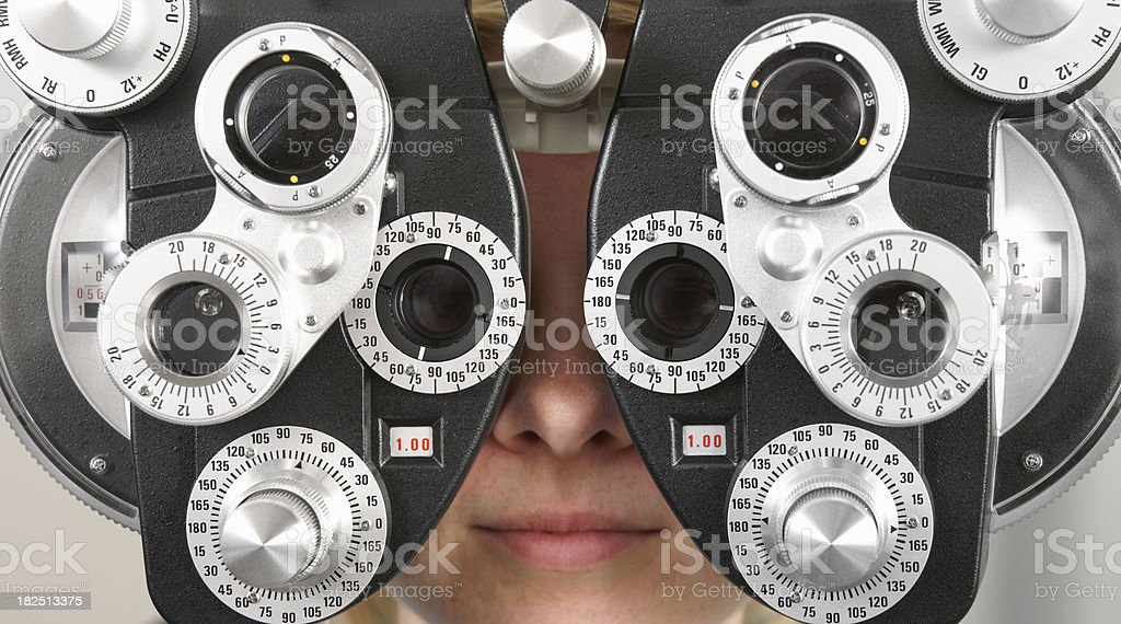 Optometry exam stock photo