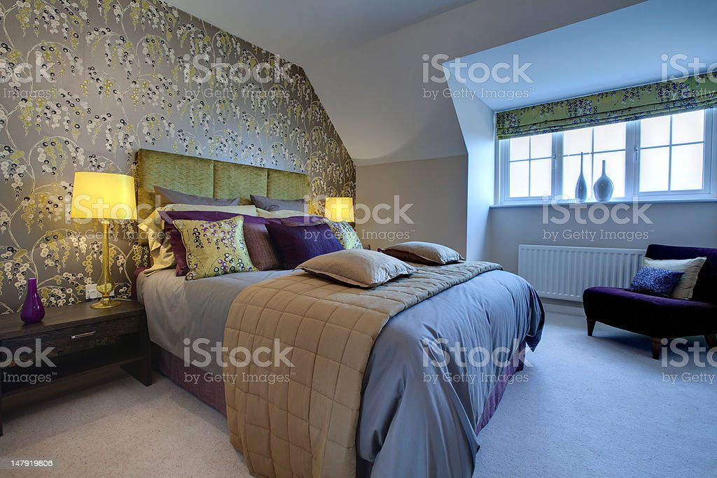 Opulent modern bedroom royalty-free stock photo
