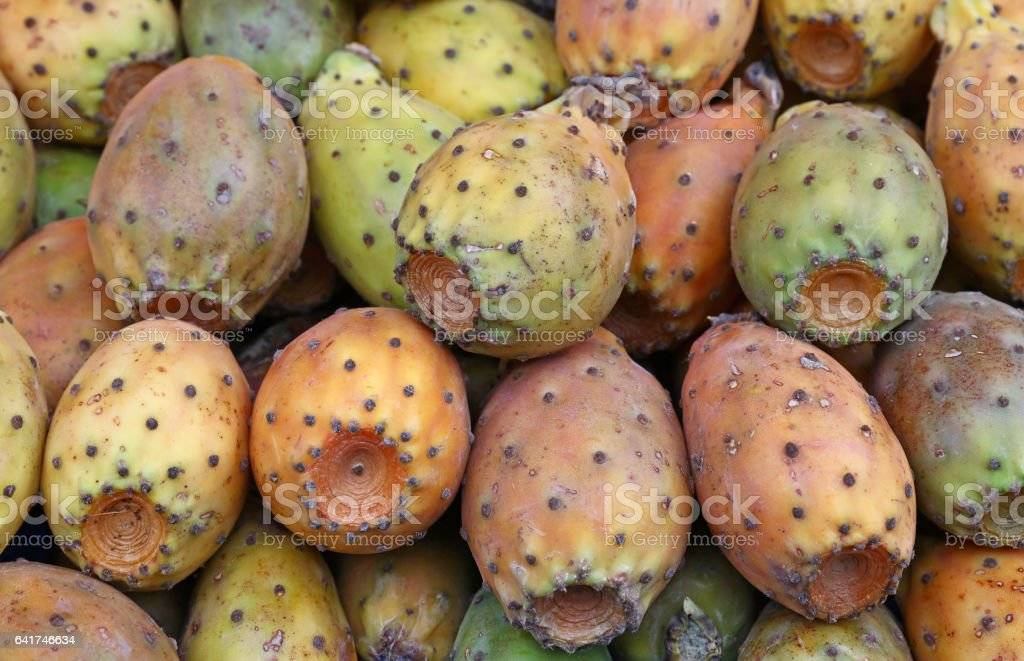 Opuntia cactus fruits sale on retail market stall stock photo